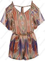 Playsuit NEW Women's Summer Chiffon Ladies playsuit Size 8 10 12 14 16 summer