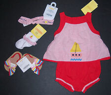 NWT Gymboree Cote D'Azure 0-3 Months Sailboat Romper Socks Headband Sandals