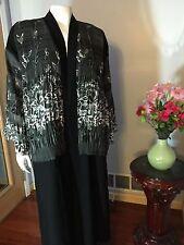 Beautiful Fancy Completely Open Khaleeji Dubai Abaya Arabic Jilbab Size XL 60