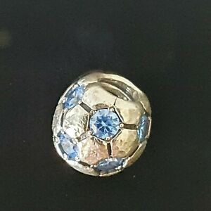 Pandora Blue CZ Sparkling Football Soccer Ball Silver Charm 790444 Free Postage