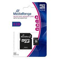 MediaRange Micro SD Memorycard 8GB Classe 10 adattatore SD in blister MR957