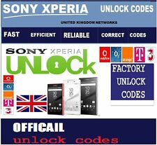 UNLOCK CODES SONY XPERIA UNITED KINGDOM NETWORKS LOCKED Z5 Z4 Z3 Z2 M4 M4 M3
