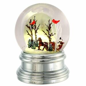 Horse & Sleigh w/Cardinals Lighted Snow Globe by Kurt Adler-Battery Operated