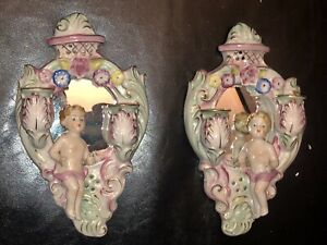 Antique Dresden or Meissen Porcelain Mirror, 2 Candle Sconce w Putti