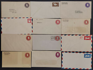 US Postal Stationery Envelope Lot of 12 Different Most Unaddressed