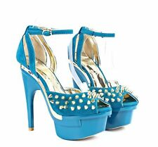 "Teal Color Rivet Studded Strappy Womens 6"" High Heels Pumps Sandals Size 8.5"