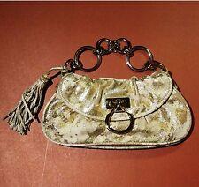 Vintage FRANSCO BIASIA Gold Beige 2 Tone Leather Clutch Handbag Purse - RARE