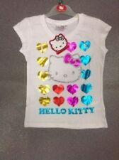 T-shirts et débardeurs blanc coton mélangé à manches courtes pour fille de 2 à 16 ans