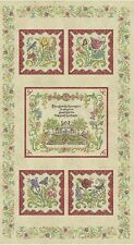 PANEL~Embroidered Garden~WINDHAM FABRIC~house flowers~23 BY 44 IN~32106P