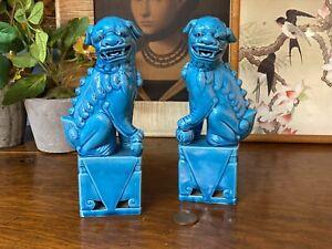 Pair Vintage Bright Blue Porcelain Fu Foo Chinese Ornamental Decorative Dogs
