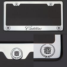 Chrome T304 License Plate Frame Tag Cadillac Black Letter Laser Etched Engraved