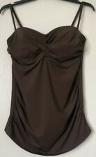 Lands End Bandeau Ruched Tankini Swim Top Push Up Underwired Swimwear Size 16