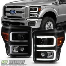 Black Smoke 2011-2016 Ford F250 F350 SuperDuty LED DRL Tube Projector Headlights