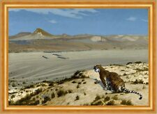 Tiger on the watch Jean-LEON GEROME animaux désert cachent sable dunes B a3 02538
