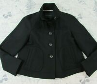 Banana Republic Black Double cloth Wool Funnel Neck Swing Lined Coat Jacket PS