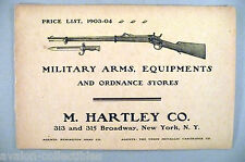 M. Hartley CATALOG - 1903 ~~ military arms, firearms, ordnance stores, rifles