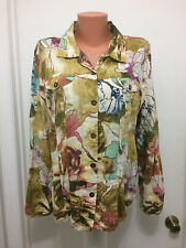 Chico's Hawaiian Tropical Print Linen Jacket Blouse Long Sleeves  Size 2 Button