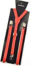 """NEW Punk RED Leather Vintage SUSPENDERS SUPER NARROW 1/2 """"  USA SELLER"""