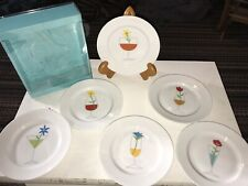 """NIB Crate and Barrel Floral 'Blossom Up' 6.5""""  Appetizer Snack Plates Set of 6"""