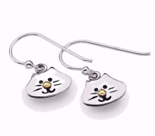 Sterling Silver 925 Happy Cat & Brass Nose Detail Earrings Sea Gems Memorial