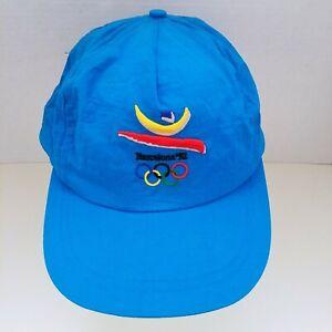 Vintage 1992 BARCELONA 92 OLYMPIC GAMES Hat Cap Neon Snapback Nylon Spain 90s
