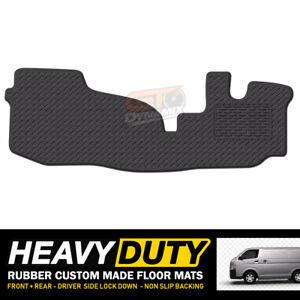 Custom BLACK Heavy Duty Rubber Floor Mats for Toyota Hiace LWB VAN 3/2005-4/2019