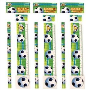 Football Stationery Set 4 Pieces Pencil/Eraser/Sharpener/Ruler/School/Gift/Kids