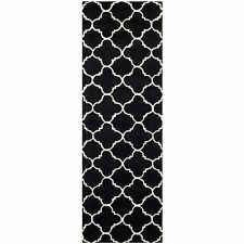 Hand-Tufted Moroccan Black/Ivory Wool Rug 2' 3 x 7' Runner