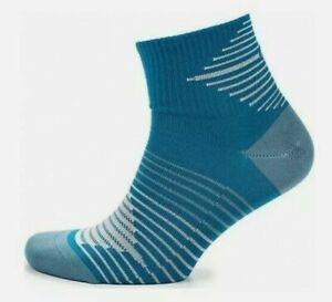 NIKE PERFORMANCE LIGHTWEIGHT RUNNING DRI FIT QUARTER SOCKS BLUE SX5197-302 UK2-5