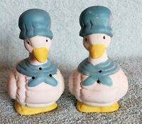 Vintage Ceramic Duck Wearing Blue Bonnets Salt and Pepper Shakers