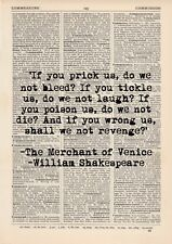 Merchant Of Venice Dictionary Art Print, Vintage William Shakespeare Quote