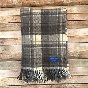 Pendleton 100% Pure Virgin Wool Plaid Fringed Throw Blanket 52 X 72