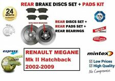 FOR RENAULT MEGANE II Hatchback 2002-2009 REAR BRAKE PADS + DISCS (with BEARING)