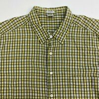 Old Navy Button Up Shirt Men's Size 2XL XXL Yellow Gray White Vintage Fit Cotton