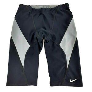 Nike Hydrastrong Solid Jammer Kids Size 7/8 Black Drawstring Stretch Swimwear