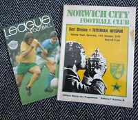 Norwich City v Tottenham Spurs 1972 Programme + Football League Review!LAST ONE!
