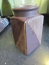 "POTTERY CERAMIC TEA LIGHT / CANDLE HOLDER - RETRO DESIGN - BROWN STRIPE 5"" TALL"
