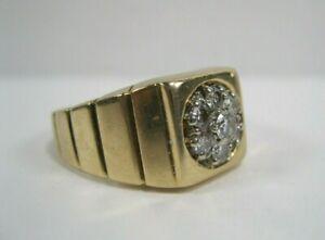 10k IBG Yellow Gold 7 Diamond Cluster Mens Ring Size 10-1/2