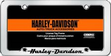 HARLEY DAVIDSON RAISED SCRIPTED LETTERS METAL CHROME LICENSE PLATE FRAME