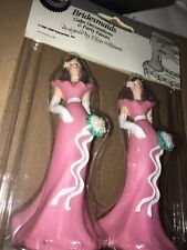 Vintage Wilton Bridesmaid Cake Toppers Wedding Pink New 4 1/2 Inches