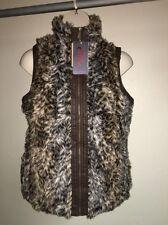 Yoki Vest Faux Fur Brown Multi-Color Vegan Fur 1XL Womens Zip Front. NWT