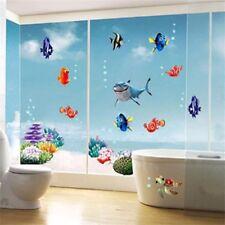 Sea World Wall Stickers for Nursery Kids Room Colorful Fish Vinyl Bathroom Decor