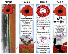 3 Set-Remembrance Day BOOKMARKS Poppy Field CANADA POPPIES Canadian Flag Art WWI