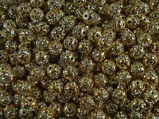 Rhinestone Balls 10mm Gold with Clear 50pcs Spacer Jewel Sphere  FREE POSTAGE