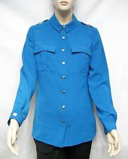 SALE!  $350 Burberry Brit M Kingfisher Military Blouse Shirt Women Lady Gorgeous