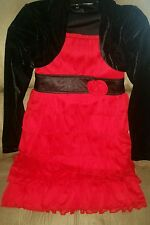 My Michelle Girl's Ruby Red Pleated Fashion Dress w/attached Black Jacket