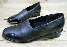 MUNRO American Black Metallic Leather Shoes Womens Sz 10 W Comfort Walking Wedge