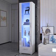 Tall Display Cabinet High Gloss White Glass Shelves Living Room Furniture 190cm
