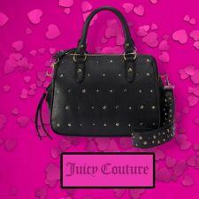 NEW Juicy Couture Women's BLACK Handbag Satchel W/ Gold Studs Faux Leather