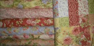 Northcott Sweet Bed of Roses QUILT FABRIC- 7 diff 1/2 yds = 3 1/2 yds Red/Yellow